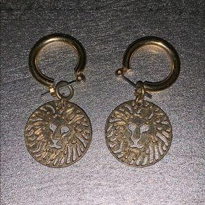 Anne Klein Gold Lion Dangle Earrings